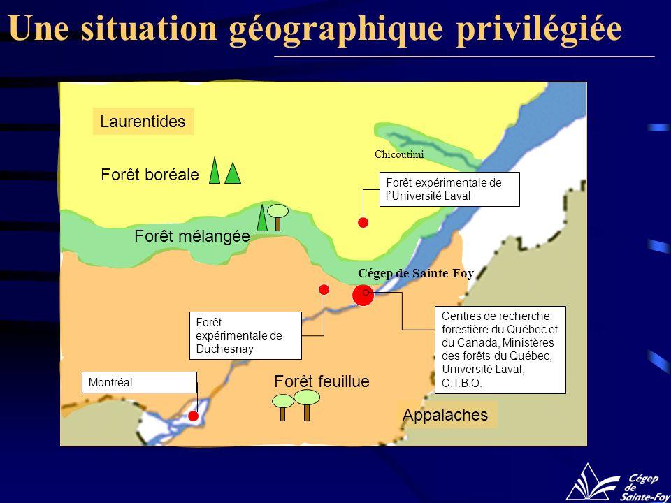 Une situation géographique privilégiée Forêt feuillue Forêt boréale Laurentides Appalaches Forêt expérimentale de Duchesnay Centres de recherche fores