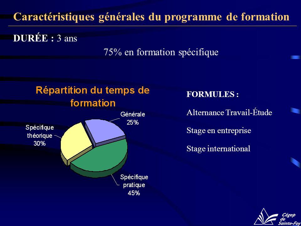 FORMULES : Alternance Travail-Étude Stage en entreprise Stage international DURÉE : 3 ans 75% en formation spécifique Caractéristiques générales du programme de formation