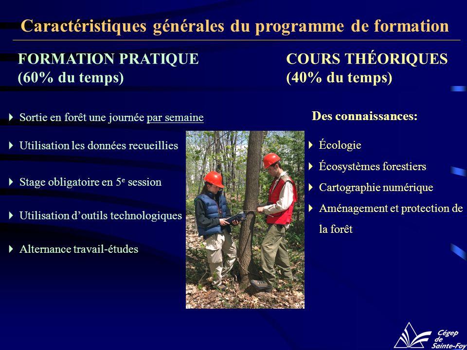 COURS THÉORIQUES (40% du temps) Écologie Écosystèmes forestiers Cartographie numérique Aménagement et protection de la forêt Des connaissances: FORMAT