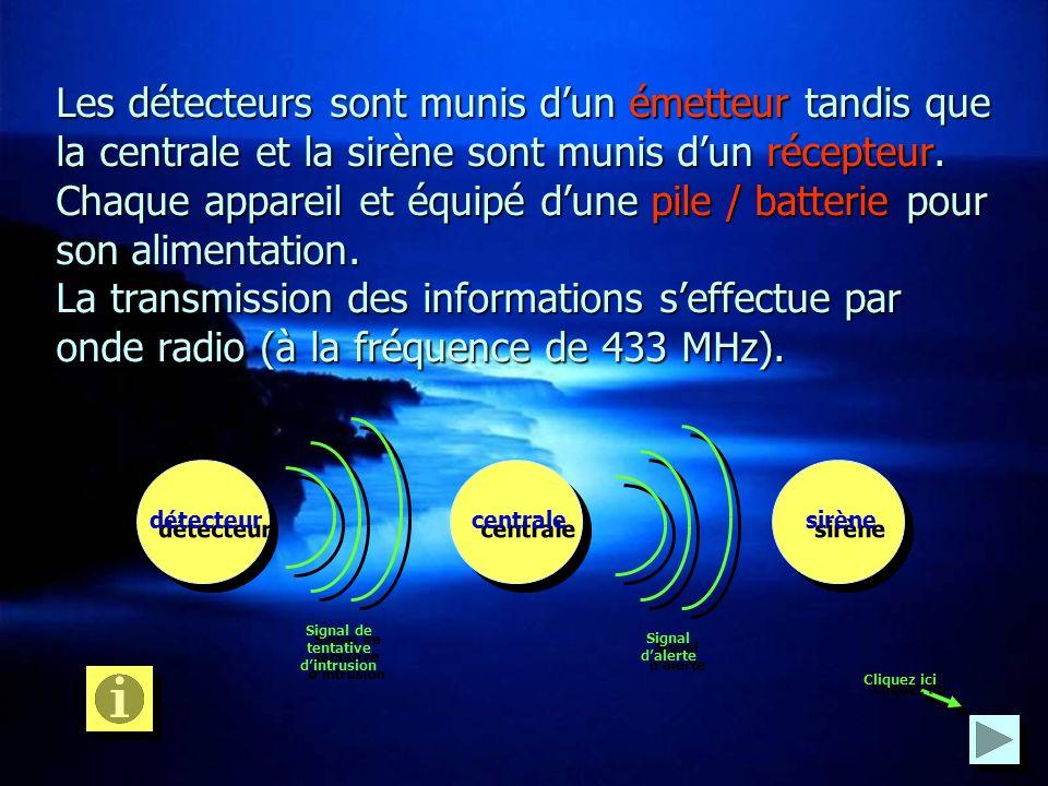 Les détecteurs sont munis dun émetteur tandis que la centrale et la sirène sont munis dun dun récepteur. Chaque appareil et équipé dune dune pile / ba