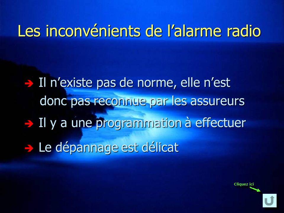 Les avantages de lalarme radio La pose se fait rapidement La pose se fait rapidement Elle se démonte très facilement Elle se démonte très facilement L
