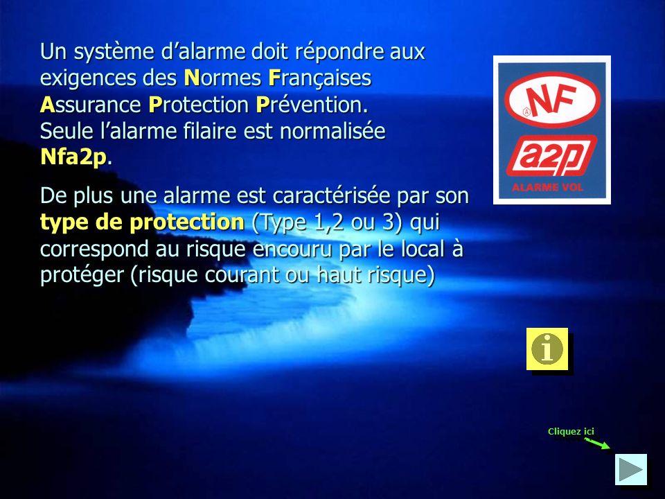 Un système dalarme doit répondre aux exigences des Normes Normes Françaises Assurance Assurance Protection Protection Prévention. Seule lalarme filair