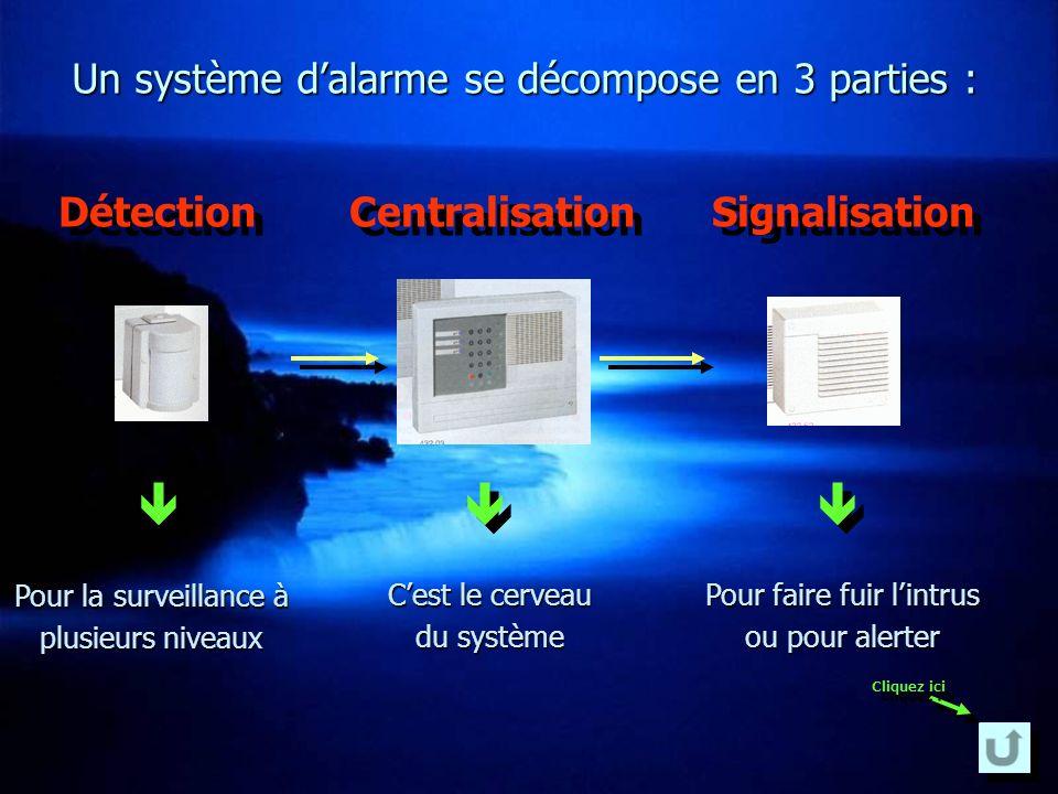 Installation complète Une centrale centrale (le cœur de lalarme) est reliée à différents détecteurs détecteurs en fonction des lieux à protéger (burea