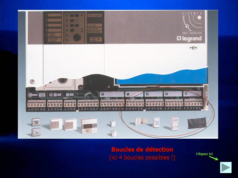 La centrale peut comporter jusquà 6 boucles de détection. centrale Contact de détection Fil dauto- protection Détecteur 1Détecteur 3Détecteur 2Chaque