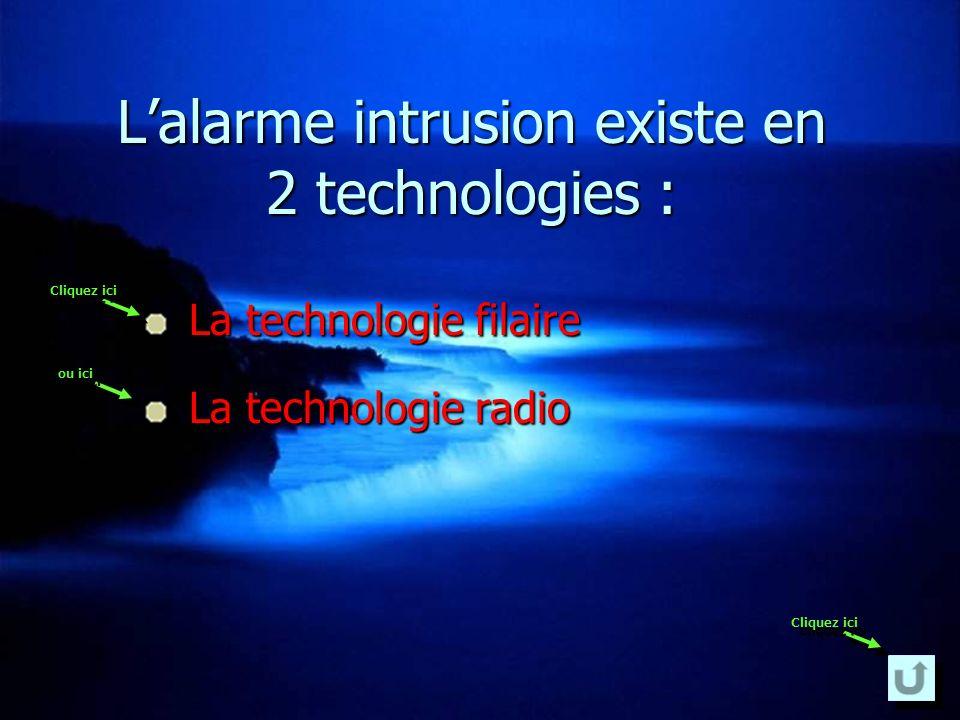Lalarme intrusion existe en 2 technologies : La technologie filaire La technologie filaire La technologie radio La technologie radio Cliquez ici ou ic