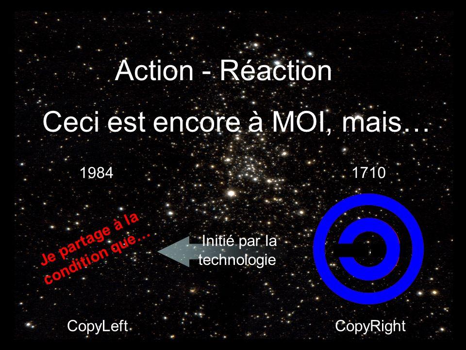 Action - Réaction Ceci est encore à MOI, mais… Je partage à la condition que… CopyLeftCopyRight 1710 1984 Initié par la technologie