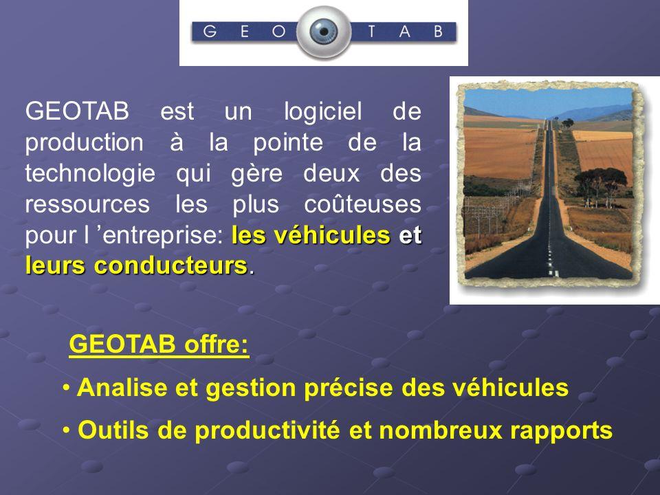 les véhicules et leurs conducteurs. GEOTAB est un logiciel de production à la pointe de la technologie qui gère deux des ressources les plus coûteuses