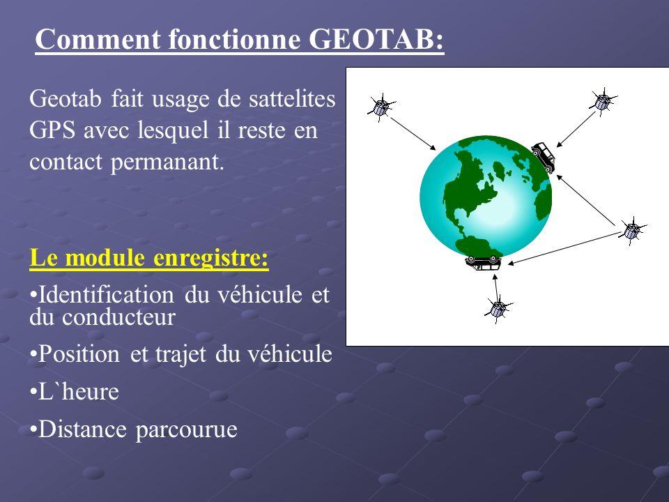 Comment fonctionne GEOTAB: Geotab fait usage de sattelites GPS avec lesquel il reste en contact permanant. Le module enregistre: Identification du véh