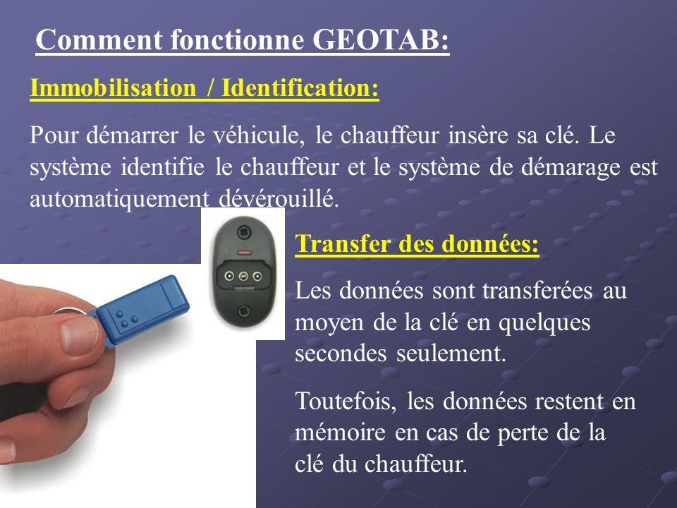 Comment fonctionne GEOTAB: Immobilisation / Identification: Pour démarrer le véhicule, le chauffeur insère sa clé. Le système identifie le chauffeur e