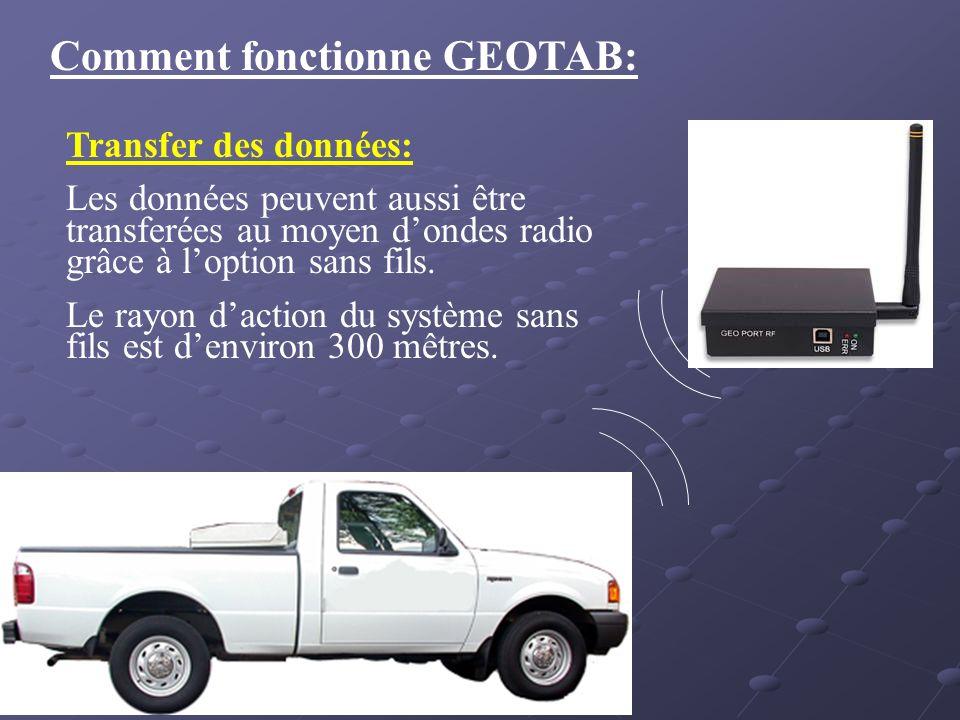 Comment fonctionne GEOTAB: Transfer des données: Les données peuvent aussi être transferées au moyen dondes radio grâce à loption sans fils. Le rayon