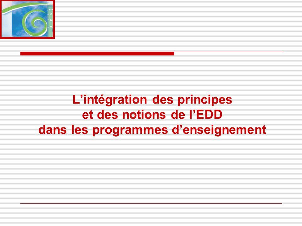 Lintégration des principes et des notions de lEDD dans les programmes denseignement