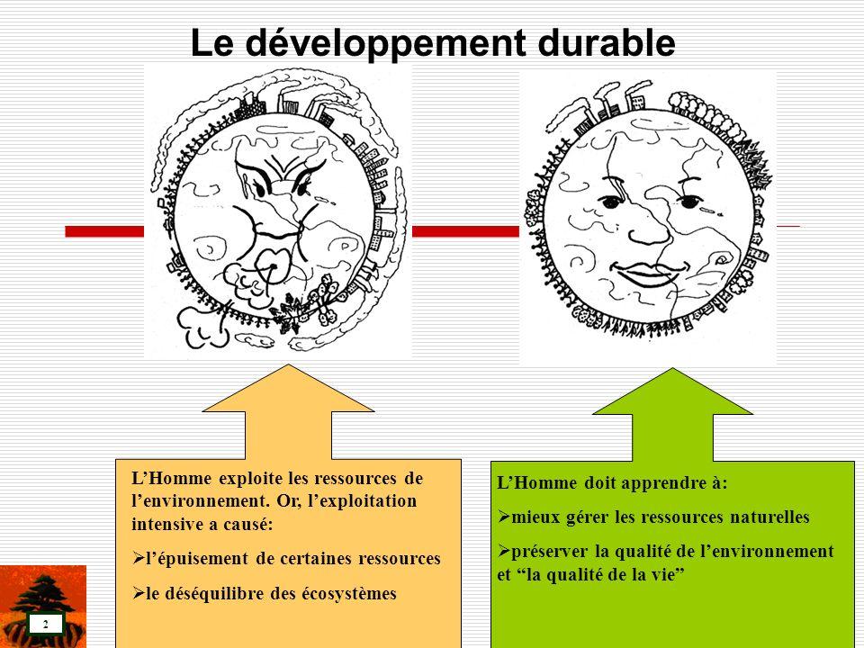3 « Le développement durable est le développement qui répond aux besoins du présent sans compromettre la capacité des générations futures de répondre aux leurs» « Un monde durable n utiliserait pas les ressources renouvelables (forêts, sols, eau, poisson et gibier) plus vite qu elles ne se renouvellent.