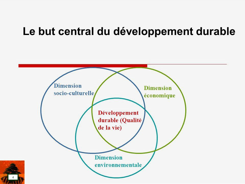 4 Le but central du développement durable Dimension économique Dimension socio-culturelle Dimension environnementale Développement durable (Qualité de
