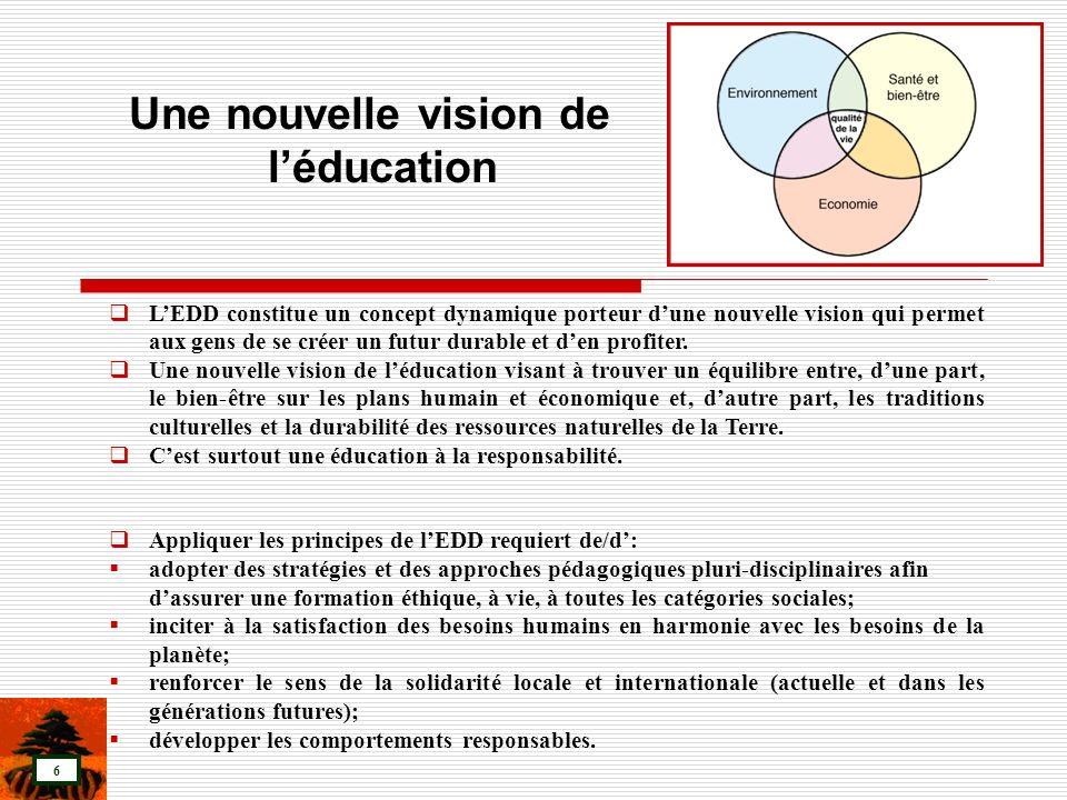 7 Adoption dune approche interdisciplinaire et holistique: lapprentissage se fera à travers le programme scolaire en tant que tout et non à travers une discipline isolée.