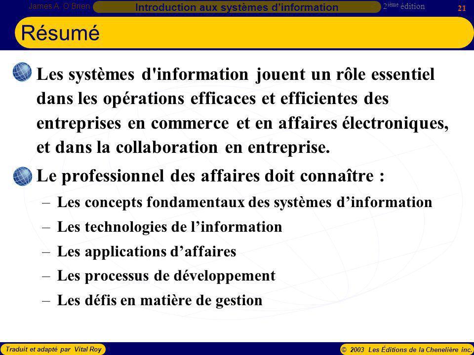 2 ième édition James A. OBrien 21 Introduction aux systèmes dinformation Traduit et adapté par Vital Roy© 2003 Les Éditions de la Chenelière inc. Les