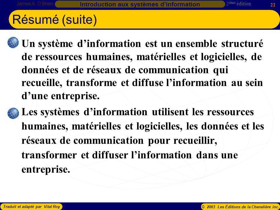 2 ième édition James A. OBrien 22 Introduction aux systèmes dinformation Traduit et adapté par Vital Roy© 2003 Les Éditions de la Chenelière inc. Résu
