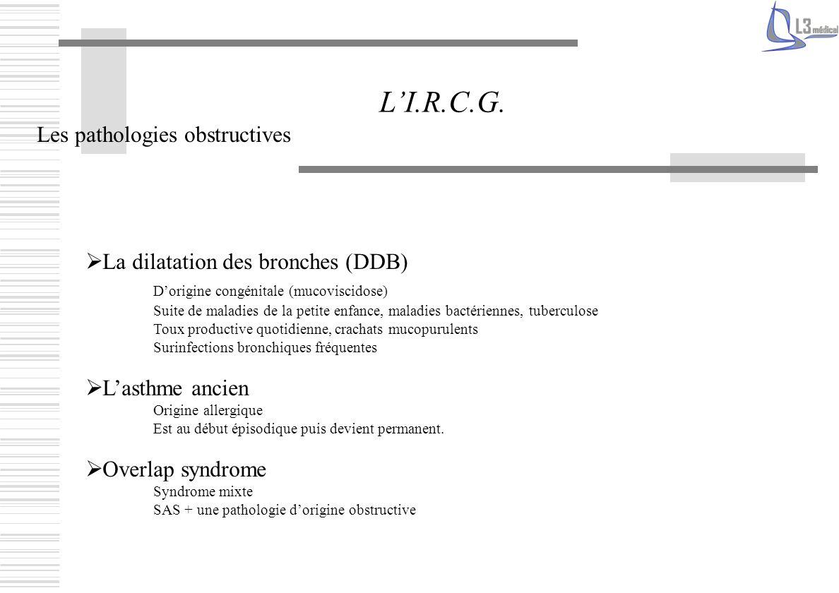 Les pathologies obstructives LI.R.C.G. La dilatation des bronches (DDB) Dorigine congénitale (mucoviscidose) Suite de maladies de la petite enfance, m