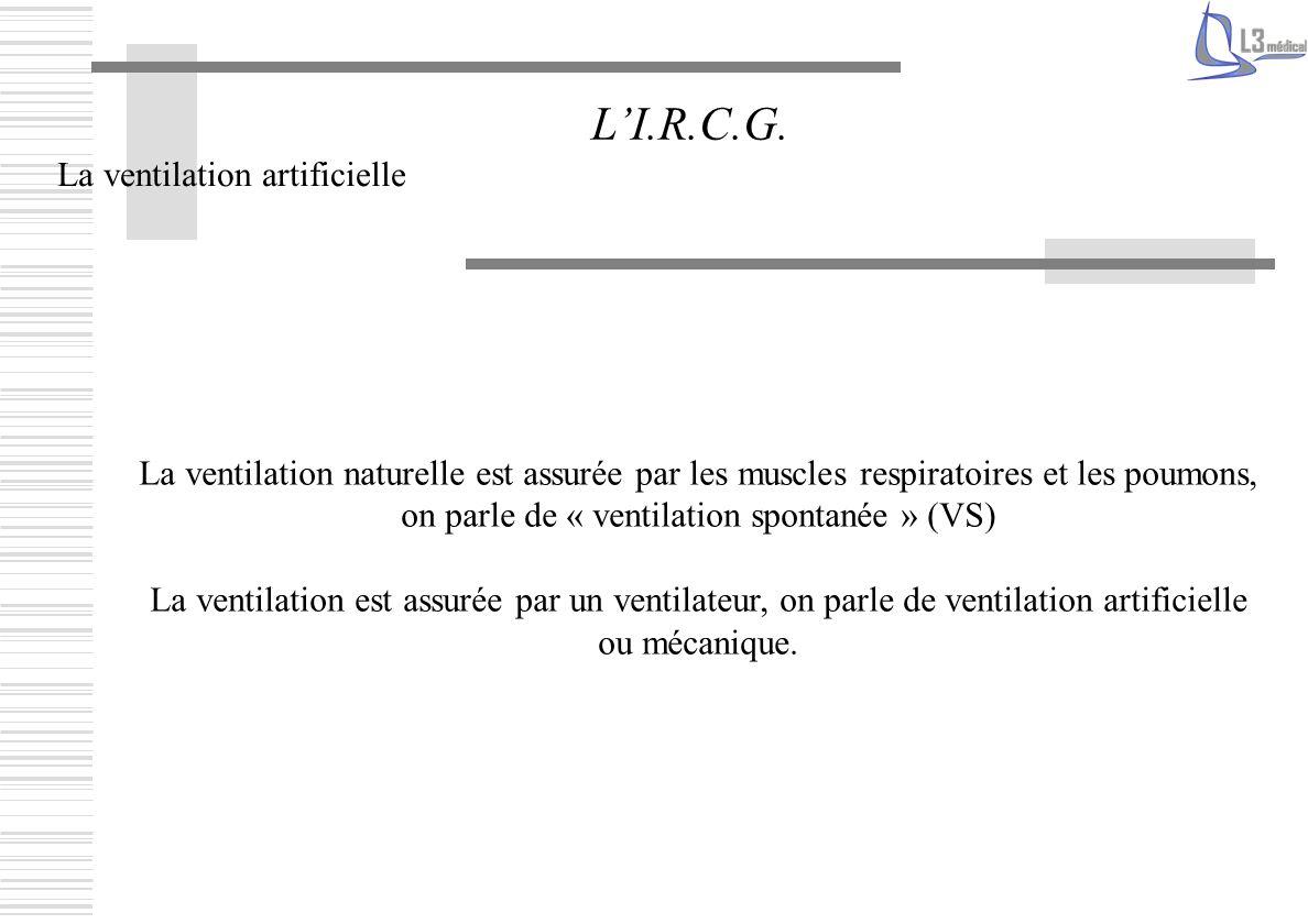 La ventilation artificielle LI.R.C.G. La ventilation naturelle est assurée par les muscles respiratoires et les poumons, on parle de « ventilation spo