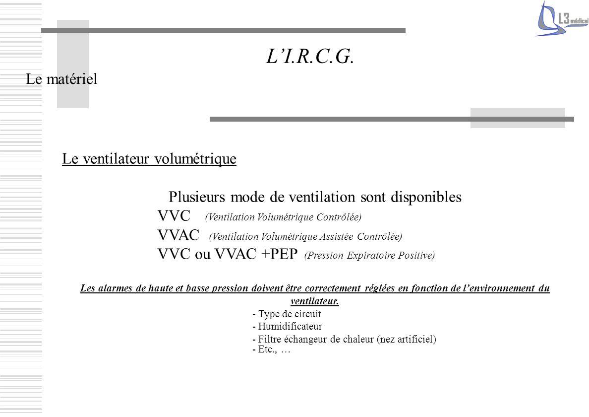 Le matériel LI.R.C.G. Le ventilateur volumétrique Plusieurs mode de ventilation sont disponibles VVC (Ventilation Volumétrique Contrôlée) VVAC (Ventil