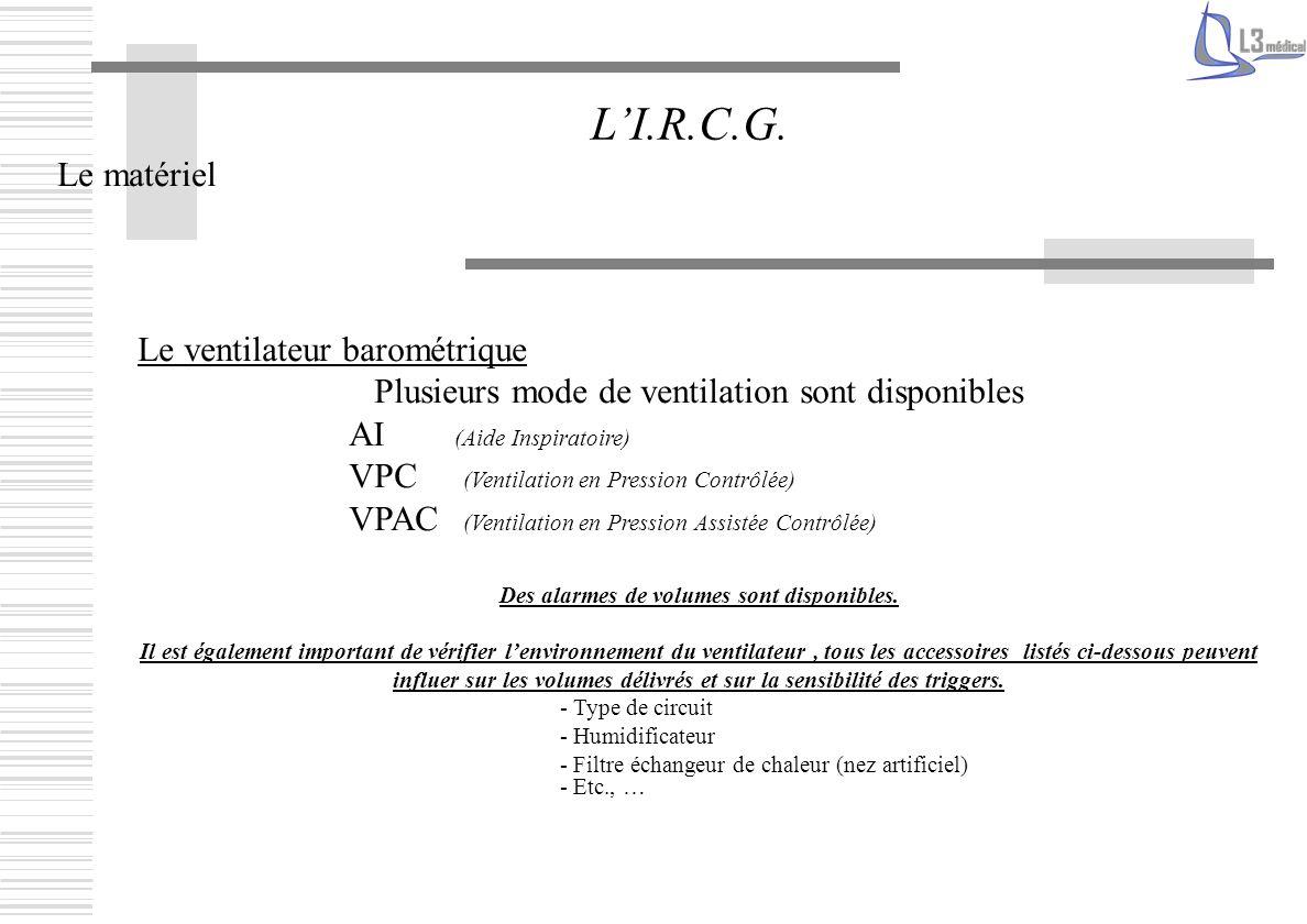 Le matériel LI.R.C.G. Le ventilateur barométrique Plusieurs mode de ventilation sont disponibles AI (Aide Inspiratoire) VPC (Ventilation en Pression C