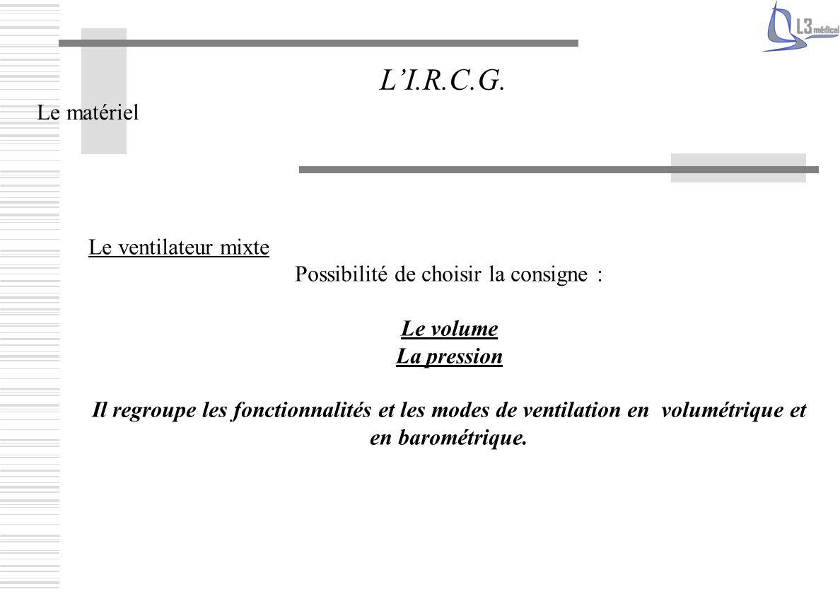 Le matériel LI.R.C.G. Le ventilateur mixte Possibilité de choisir la consigne : Le volume La pression Il regroupe les fonctionnalités et les modes de