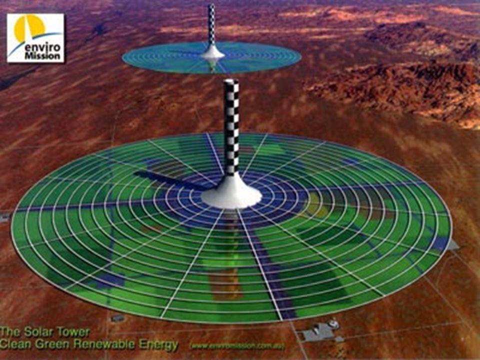 Photo de la maquette de 6 m de la tour à vortex réalisée en 1997 par la société SUMATEL en Savoie. Je ne sais pas si la tour solaire a un avenir, mais