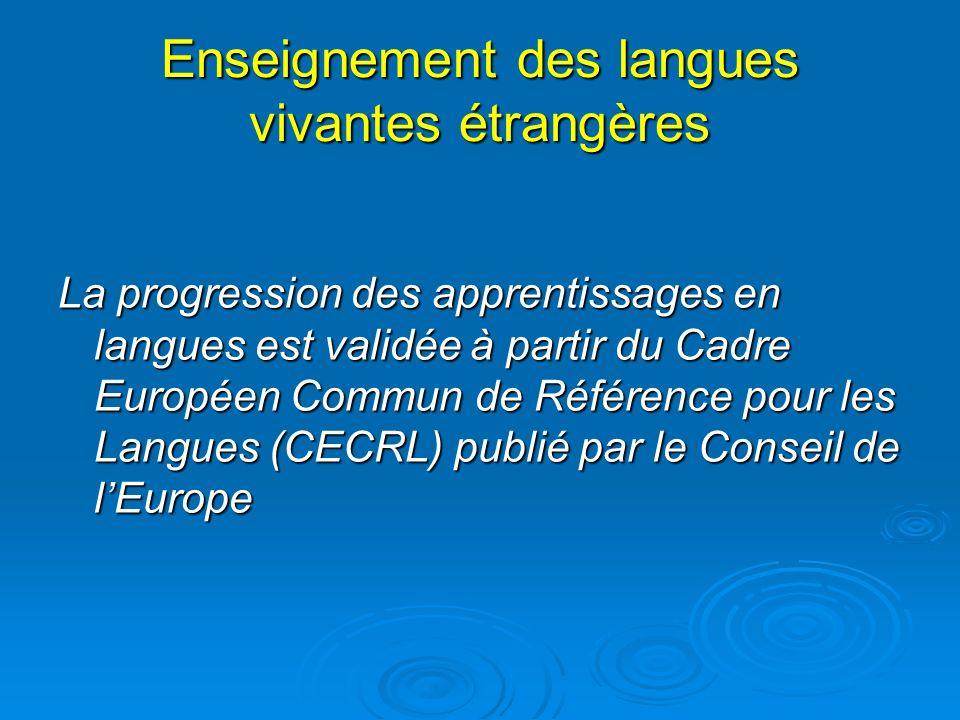 Enseignement des langues vivantes étrangères La progression des apprentissages en langues est validée à partir du Cadre Européen Commun de Référence p