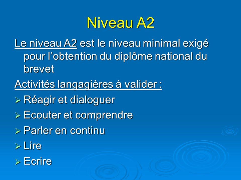 Niveau A2 Le niveau A2 est le niveau minimal exigé pour lobtention du diplôme national du brevet Activités langagières à valider : Réagir et dialoguer