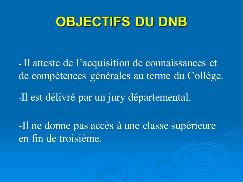 OBJECTIFS DU DNB - Il atteste de lacquisition de connaissances et de compétences générales au terme du Collège. - Il est délivré par un jury départeme