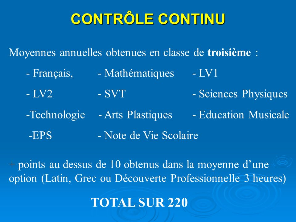 CONTRÔLE CONTINU Moyennes annuelles obtenues en classe de troisième : - Français, - Mathématiques - LV1 - LV2- SVT - Sciences Physiques -Technologie -