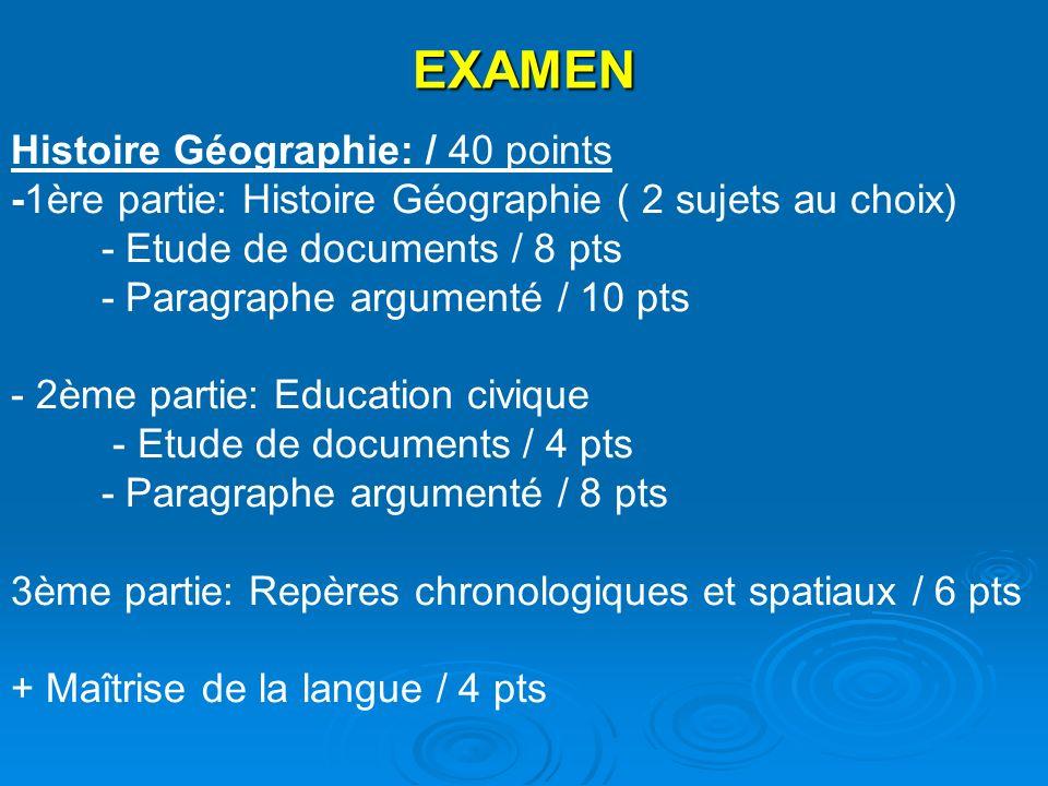 EXAMEN Histoire Géographie: / 40 points -1ère partie: Histoire Géographie ( 2 sujets au choix) - Etude de documents / 8 pts - Paragraphe argumenté / 1