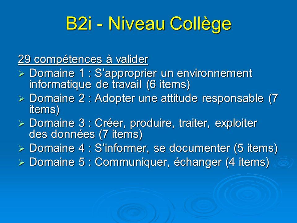 B2i - Niveau Collège 29 compétences à valider Domaine 1 : Sapproprier un environnement informatique de travail (6 items) Domaine 1 : Sapproprier un en