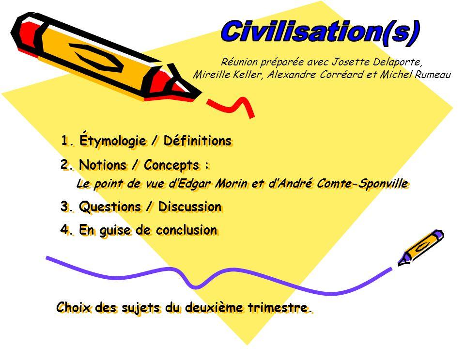 1. Étymologie / Définitions 2. Notions / Concepts : Le point de vue dEdgar Morin et dAndré Comte-Sponville 3. Questions / Discussion 4. En guise de co