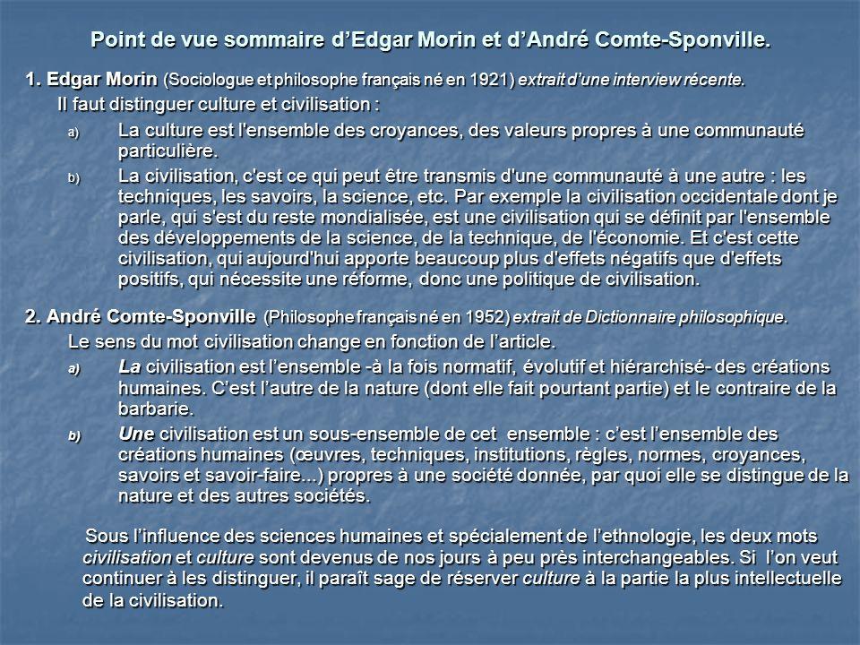 Point de vue sommaire dEdgar Morin et dAndré Comte-Sponville. 1. Edgar Morin (Sociologue et philosophe français né en 1921) extrait dune interview réc