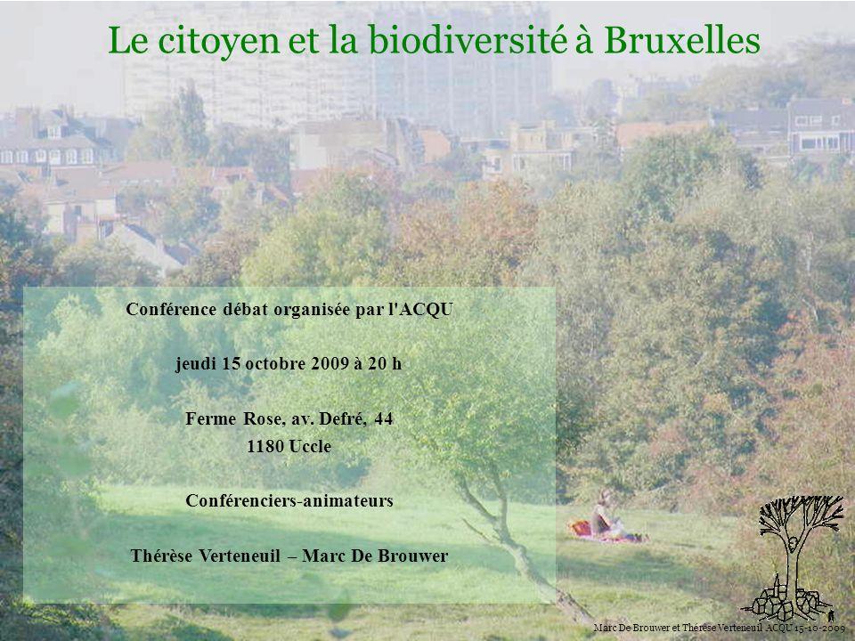 Biodiversité Le citoyen et la biodiversité à Bruxelles Marc De Brouwer et Thérèse Verteneuil ACQU 15-10-2009 Actions au niveau mondial et européen Lors du sommet de Göteborg en 2001, les chefs dEtats et de gouvernements européens ont convenu darrêter la perte de biodiversité dans le monde dici la fin de cette décennie.