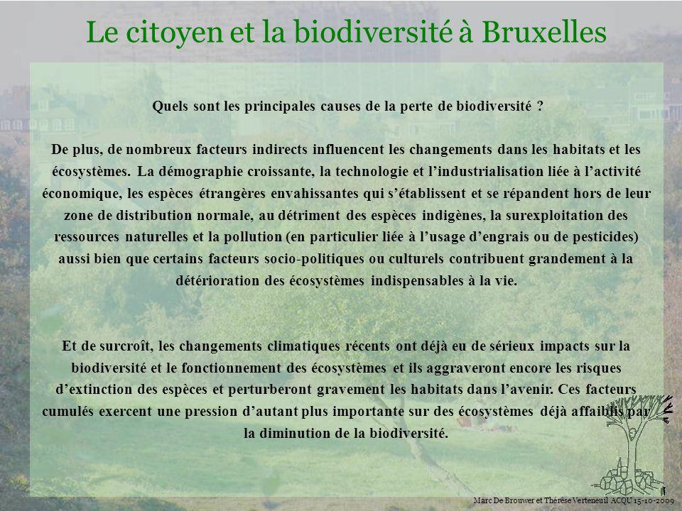 Biodiversité Le citoyen et la biodiversité à Bruxelles Marc De Brouwer et Thérèse Verteneuil ACQU 15-10-2009 Quels sont les principales causes de la p