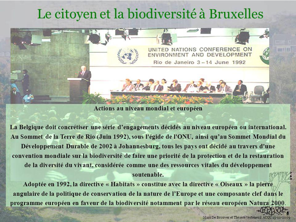 Biodiversité Le citoyen et la biodiversité à Bruxelles Marc De Brouwer et Thérèse Verteneuil ACQU 15-10-2009 Actions au niveau mondial et européen La