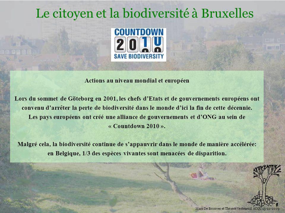 Biodiversité Le citoyen et la biodiversité à Bruxelles Marc De Brouwer et Thérèse Verteneuil ACQU 15-10-2009 Actions au niveau mondial et européen Lor
