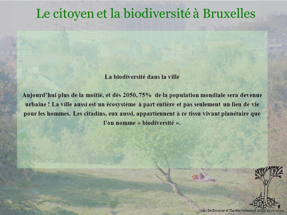 Biodiversité Le citoyen et la biodiversité à Bruxelles Marc De Brouwer et Thérèse Verteneuil ACQU 15-10-2009 La biodiversité dans la ville Aujourdhui