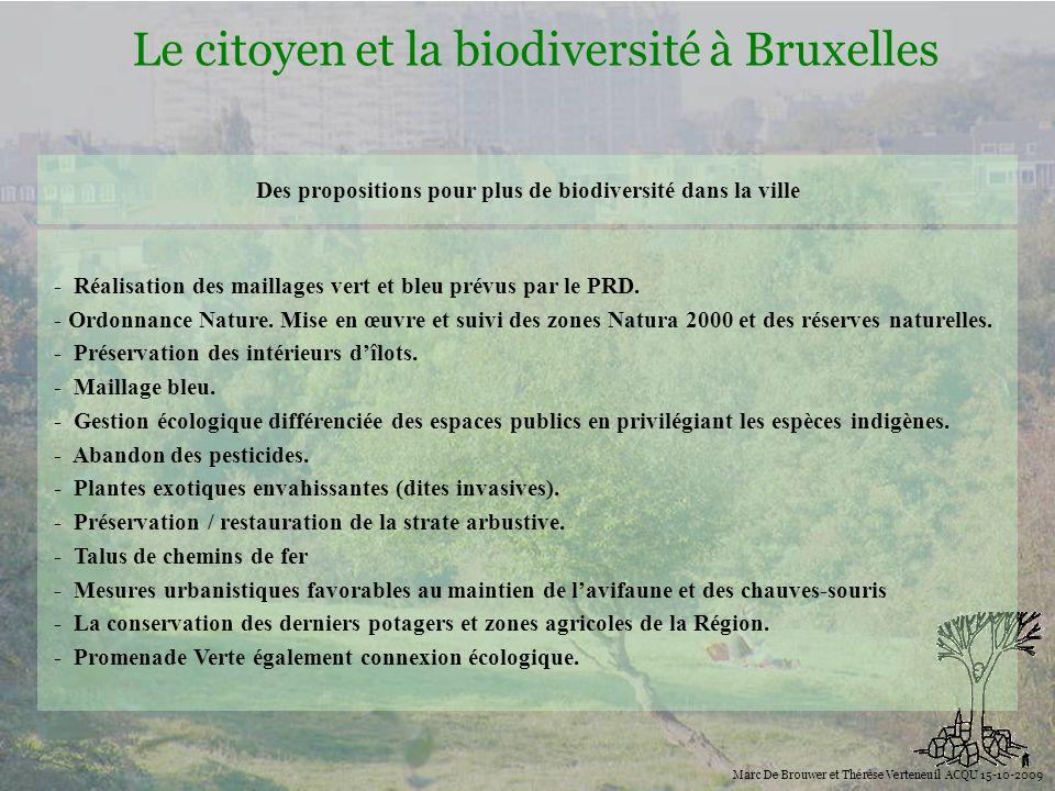 Biodiversité Le citoyen et la biodiversité à Bruxelles Marc De Brouwer et Thérèse Verteneuil ACQU 15-10-2009 - Réalisation des maillages vert et bleu
