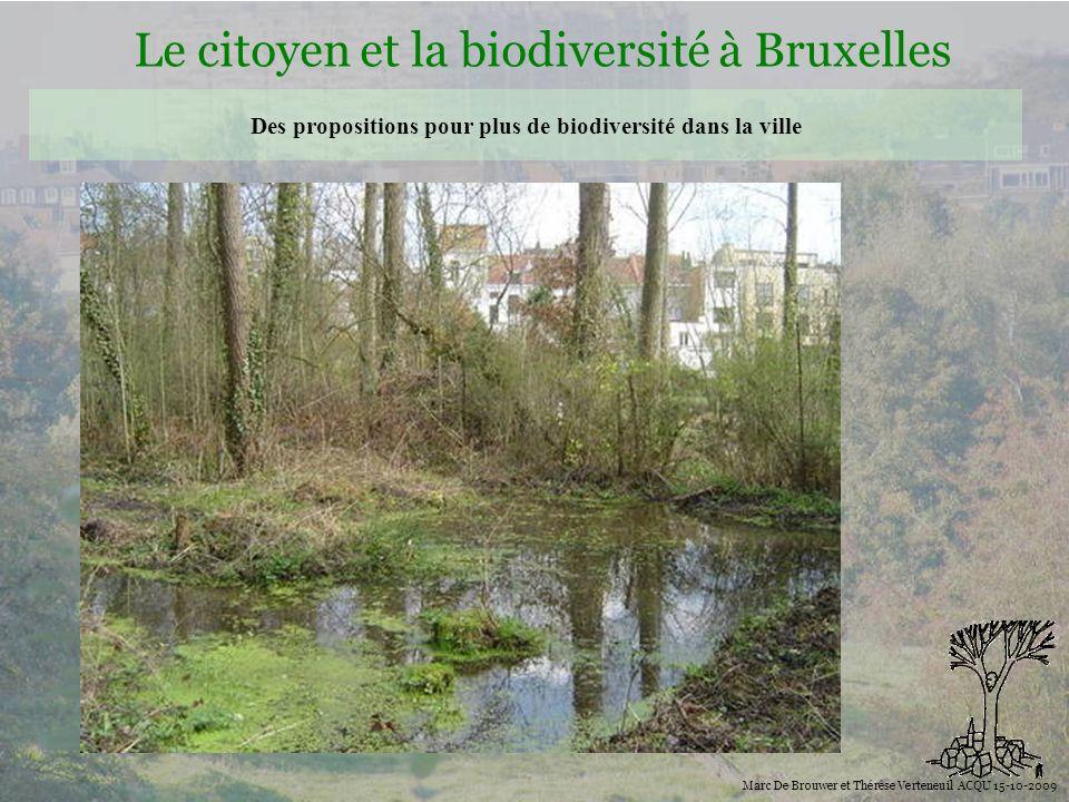 Biodiversité Le citoyen et la biodiversité à Bruxelles Marc De Brouwer et Thérèse Verteneuil ACQU 15-10-2009 Des propositions pour plus de biodiversit