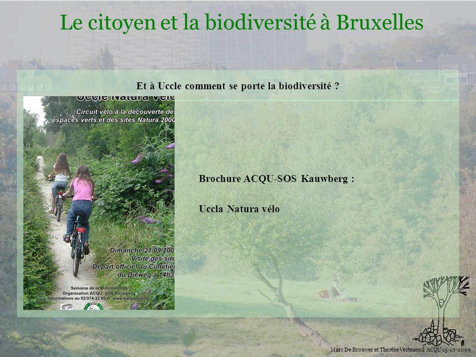 Biodiversité Le citoyen et la biodiversité à Bruxelles Marc De Brouwer et Thérèse Verteneuil ACQU 15-10-2009 Et à Uccle comment se porte la biodiversi