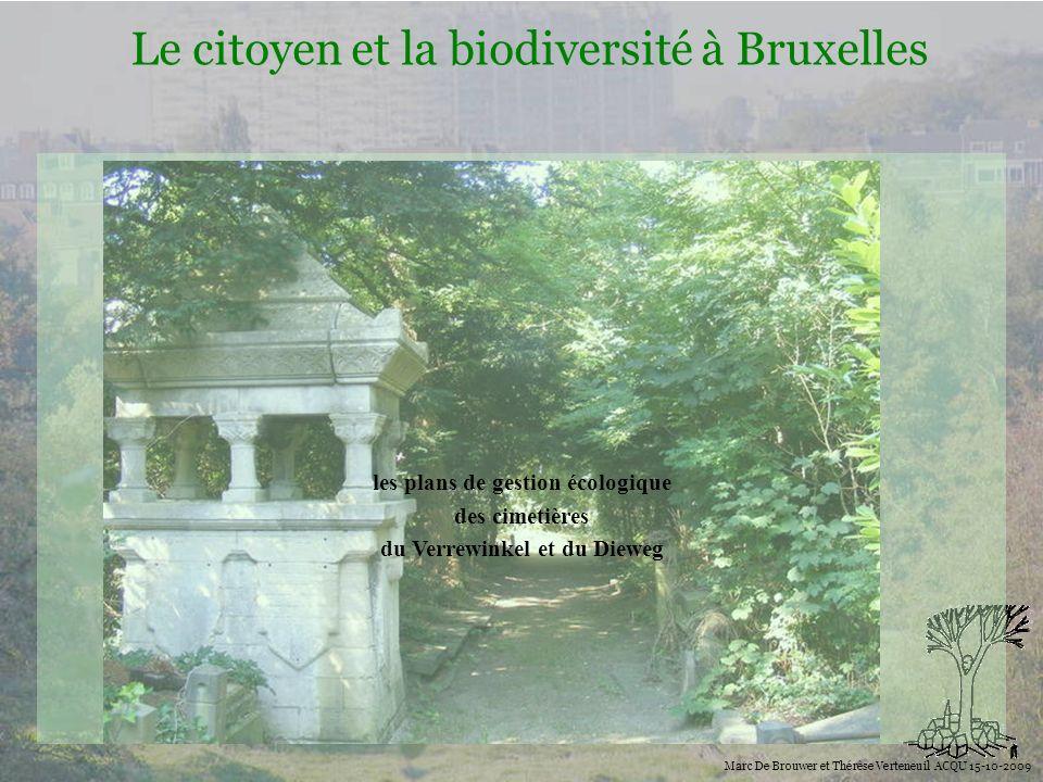 Biodiversité Le citoyen et la biodiversité à Bruxelles Marc De Brouwer et Thérèse Verteneuil ACQU 15-10-2009 les plans de gestion écologique des cimet