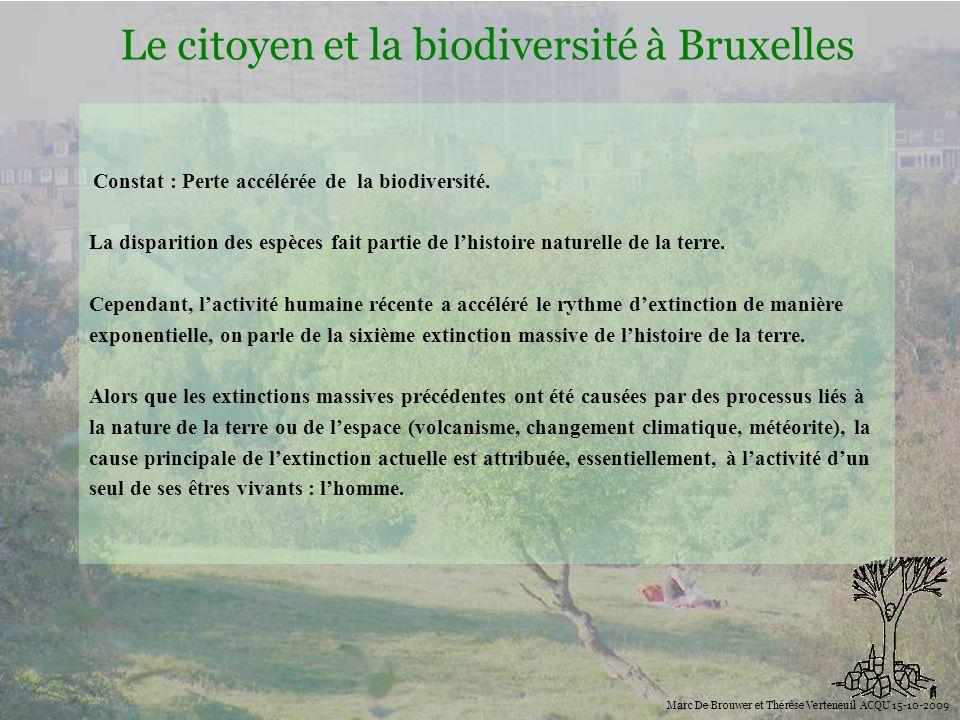 Biodiversité Le citoyen et la biodiversité à Bruxelles Marc De Brouwer et Thérèse Verteneuil ACQU 15-10-2009 Pourquoi sinquiéter de la perte de la biodiversité ?