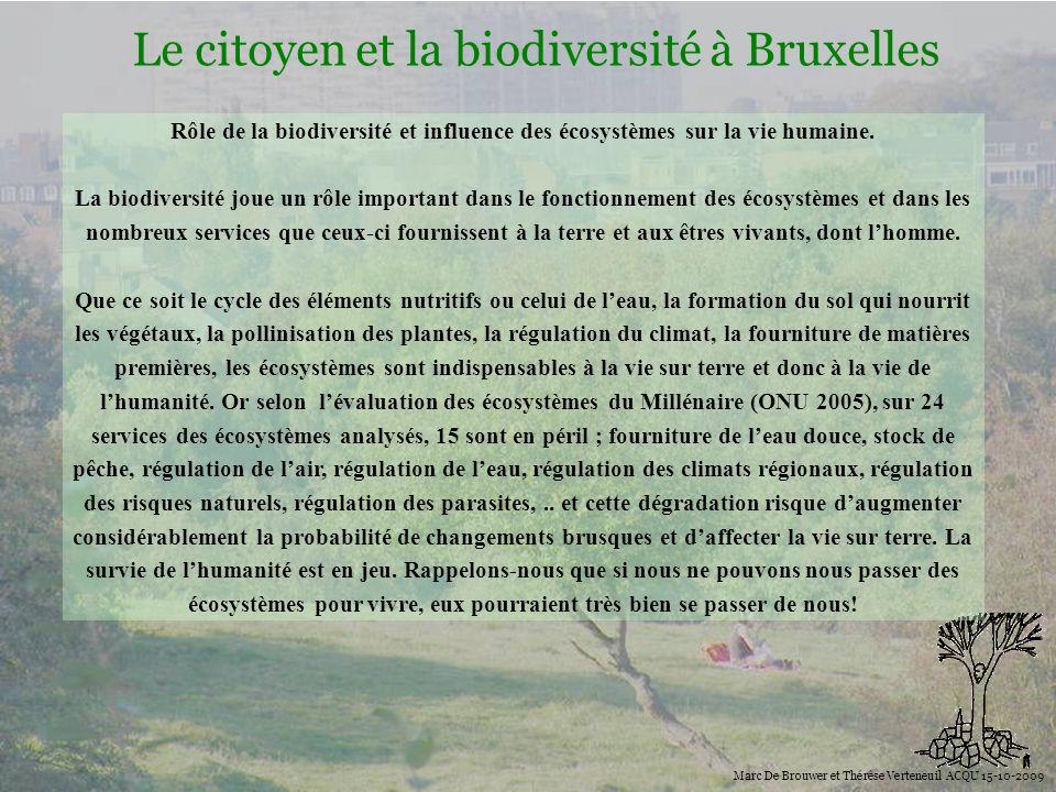 Biodiversité Le citoyen et la biodiversité à Bruxelles Marc De Brouwer et Thérèse Verteneuil ACQU 15-10-2009 Rôle de la biodiversité et influence des