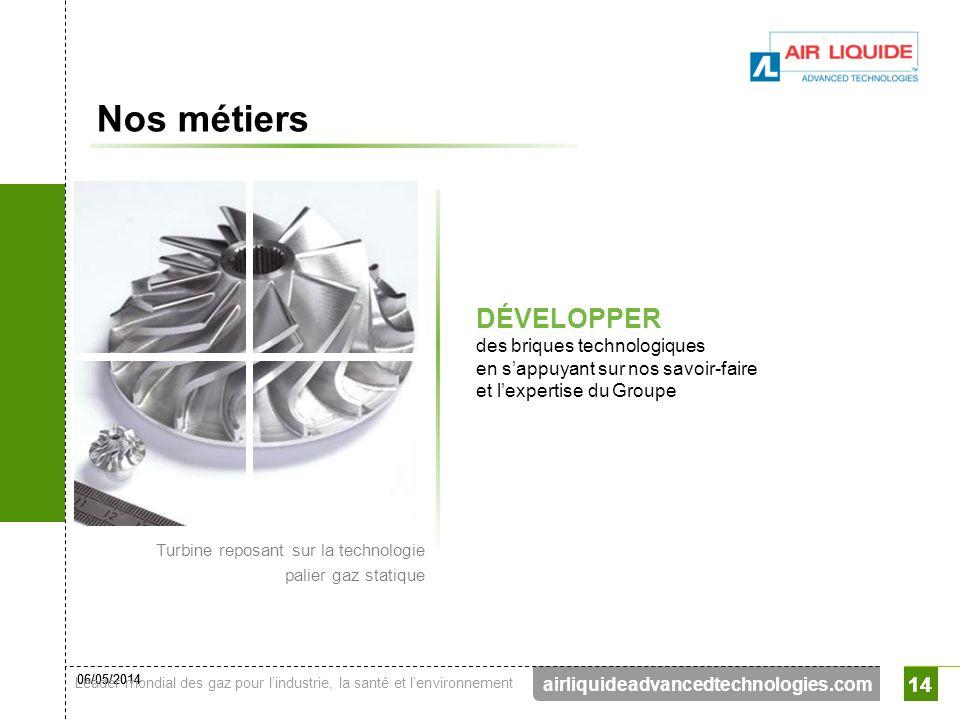 06/05/2014 Leader mondial des gaz pour lindustrie, la santé et lenvironnement 14 airliquideadvancedtechnologies.com 14 Nos métiers DÉVELOPPER des briq