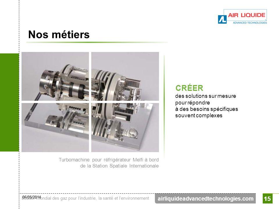06/05/2014 Leader mondial des gaz pour lindustrie, la santé et lenvironnement 15 airliquideadvancedtechnologies.com 15 Nos métiers CRÉER des solutions