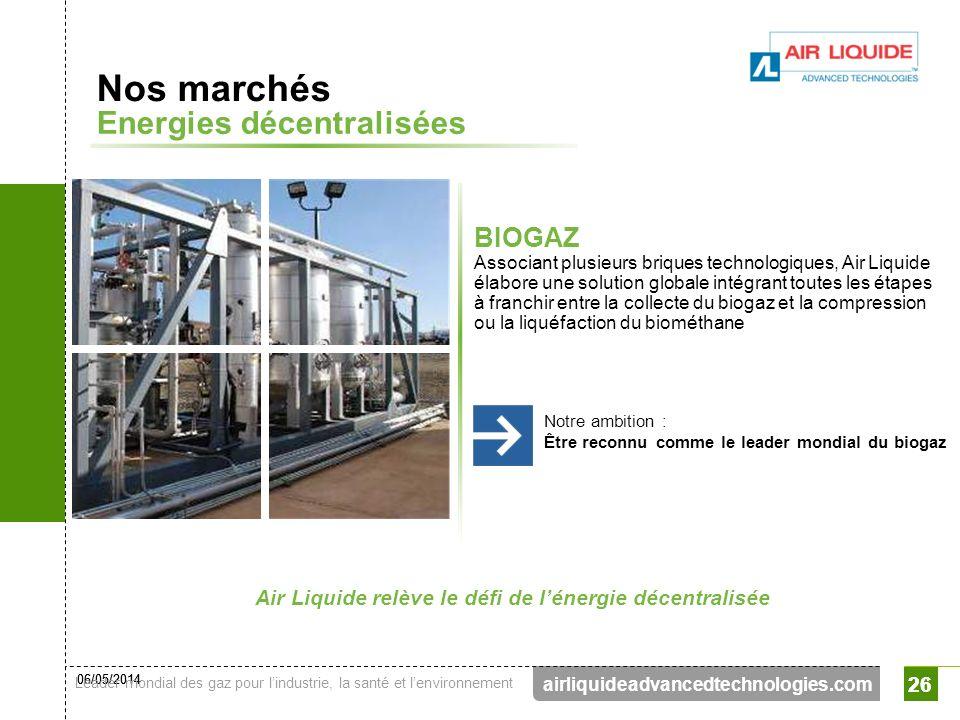 06/05/2014 Leader mondial des gaz pour lindustrie, la santé et lenvironnement 26 airliquideadvancedtechnologies.com 26 Nos marchés Energies décentrali