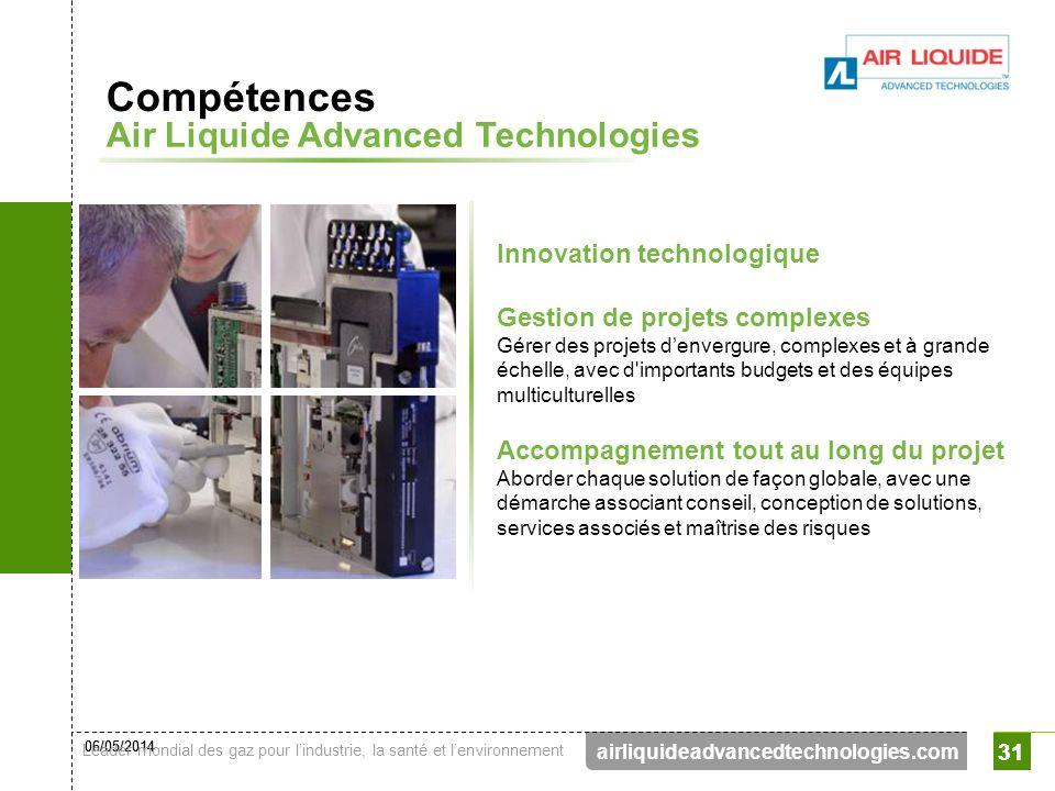 06/05/2014 Leader mondial des gaz pour lindustrie, la santé et lenvironnement 31 airliquideadvancedtechnologies.com 31 Innovation technologique Compét