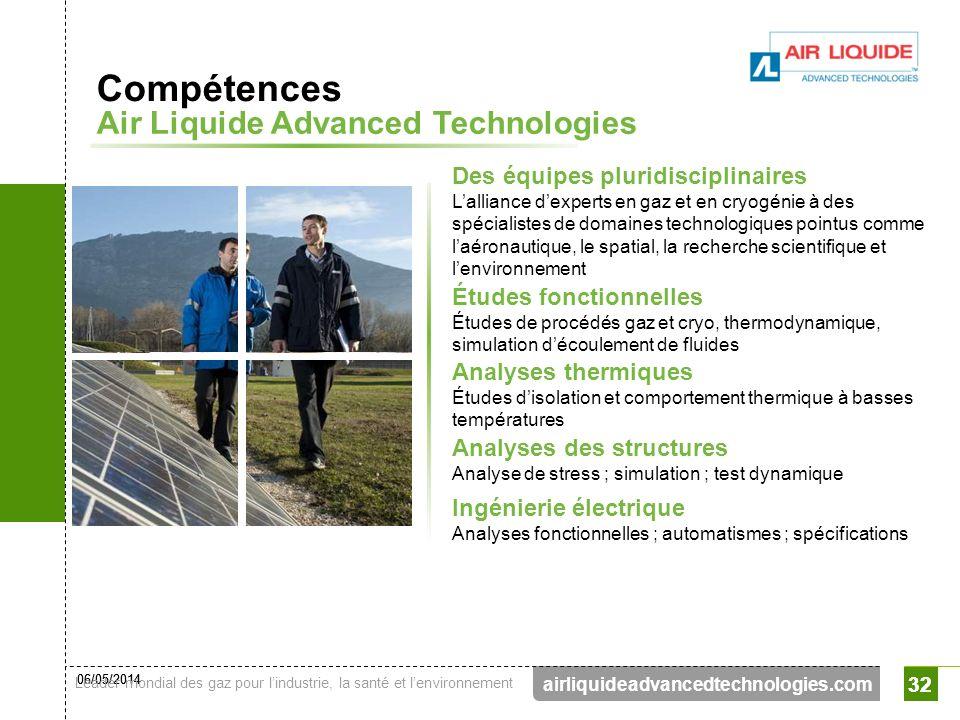 06/05/2014 Leader mondial des gaz pour lindustrie, la santé et lenvironnement 32 airliquideadvancedtechnologies.com 32 Des équipes pluridisciplinaires